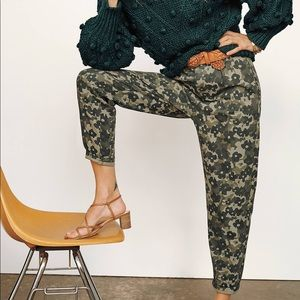 Anthropologie Amadi Floral Camo Trouser Pants